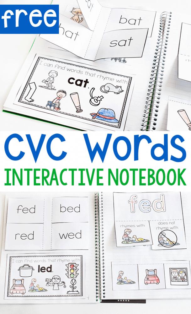 Free printable cvc word short vowel activity for kindergarten. CVC Word interactive notebook printable for kindergarten.