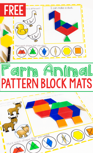 Free printable farm animal pattern block mats for preschoolers- 2 pattern block mats-donkey and duck images