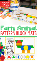Cow and goat pattern block activities for preschool farm theme