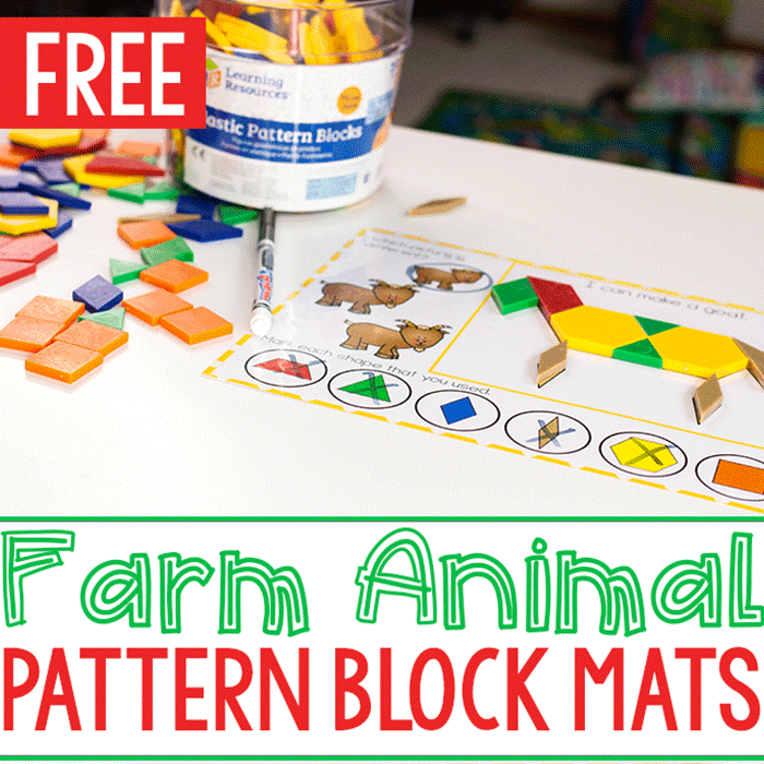 Fine motor farm animal pattern block mat for preschool- Free printable preschool activity