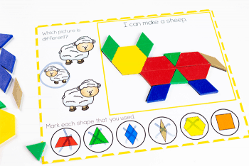 Free printable pattern block activity for preschool farm theme- build a sheep with pattern blocks