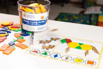 Create a donkey with preschool farm animal pattern block mats