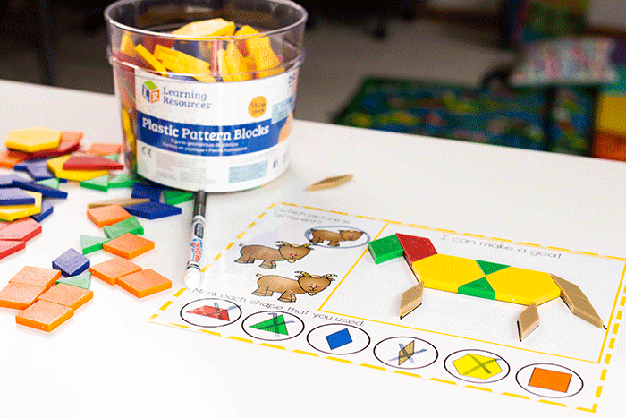 Create a donkey with preschool farm animal pattern block mats