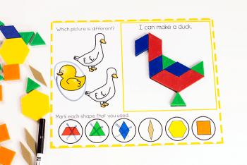 Use pattern blocks to build duck on farm animal pattern block mat for preschoolers.