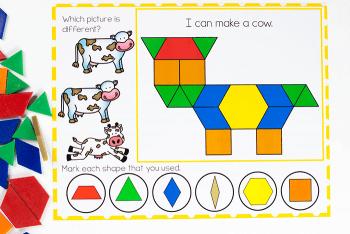 Build farm animals on the preschool pattern block mats for fine motor skills