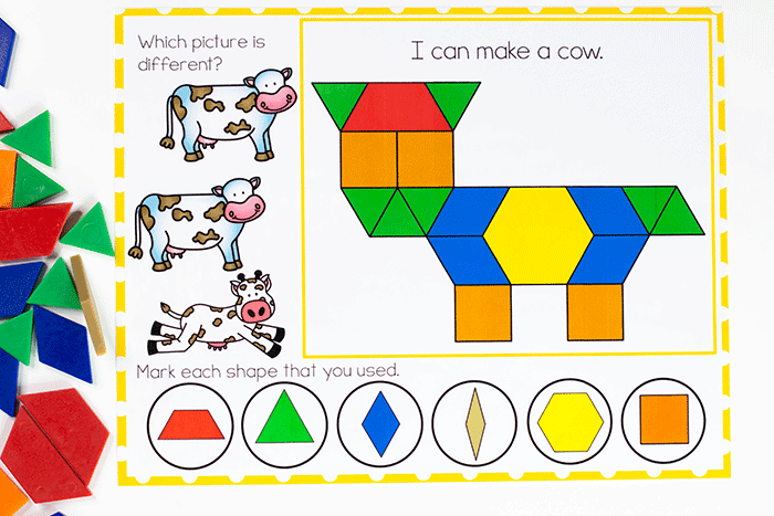 Build farm animals on the preschool pattern block mats for fine motor skills