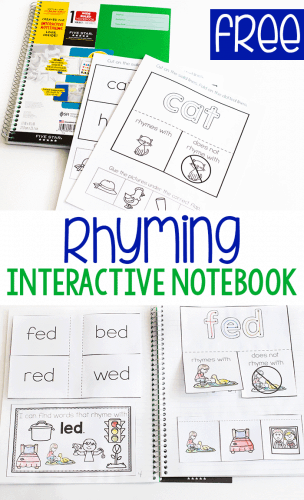 Free printable rhyming interactive notebook for kindergarten. I