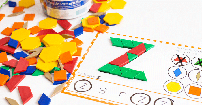 Free printable lowercase letter pattern block mats for kindergarten literacy centers.