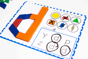 Free printable pattern block activities for lowercase letter identification.