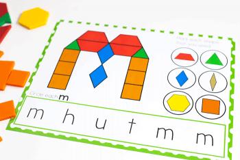 Free printable lowercase letter pattern block mats for kindergarten literacy centers.