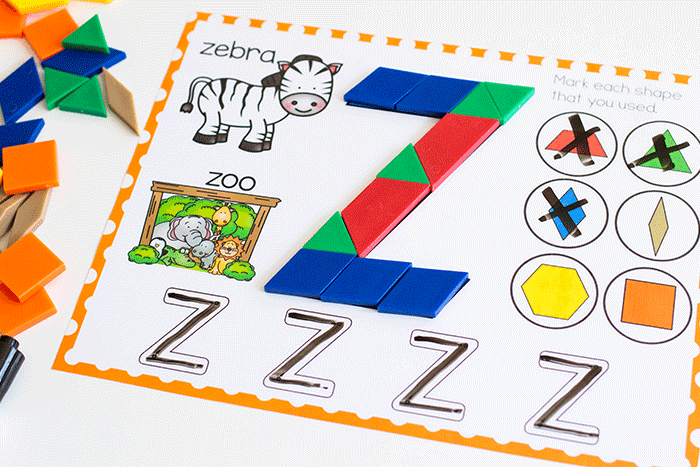 Create uppercase letters with these free printable literacy activities for pre-k. Build uppercase letters with pattern blocks and identify beginning sounds of words.