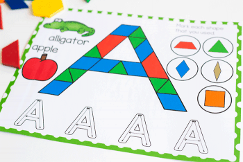 Letter A Pattern Block mat for uppercase letters free printable for preschool and pre-k literacy centers