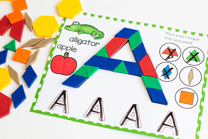Place pattern blocks on the uppercase letter pattern block mat to form the uppercase letter 'a' with this free printable literacy center for preschoolers.