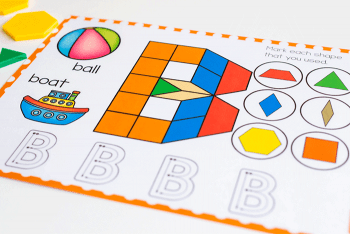 Create letters of the alphabet with these free printable uppercase letter pattern block mats for kindergarten literacy activities