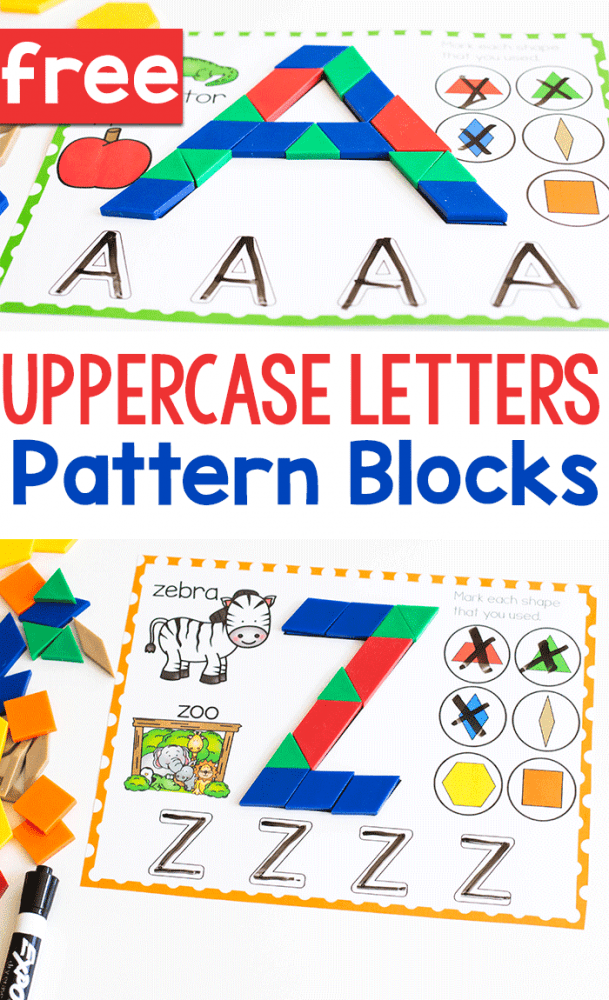 Free printable uppercase letter pattern block mats for preschool.