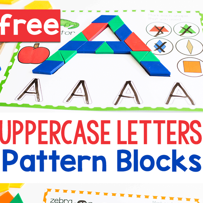 Free beginning sounds alphabet mats with uppercase letters in pattern blocks for kindergarten literacy centers.