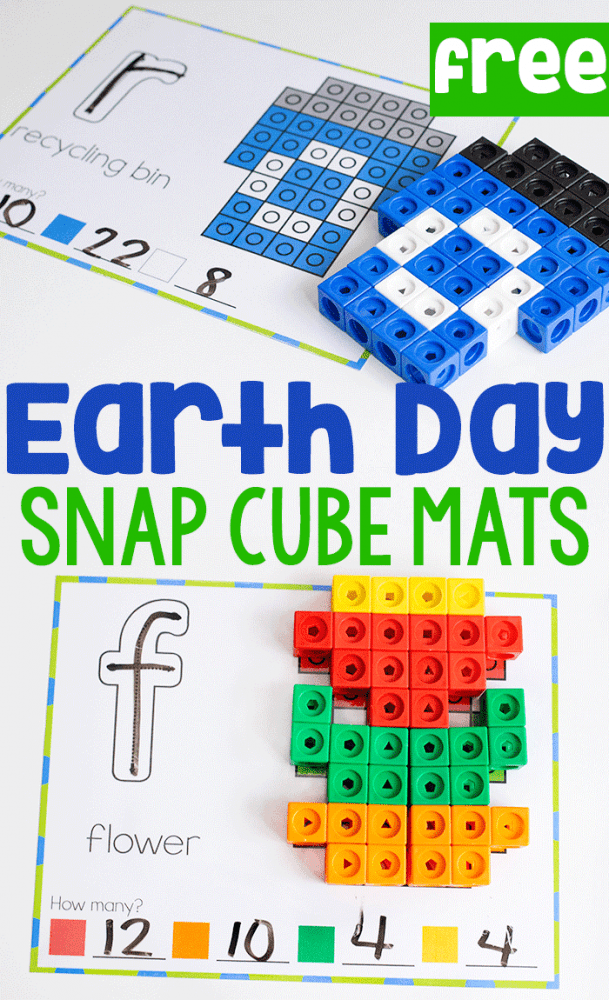 Earth day snap cube mats for building fine motor skills. occupational therapy