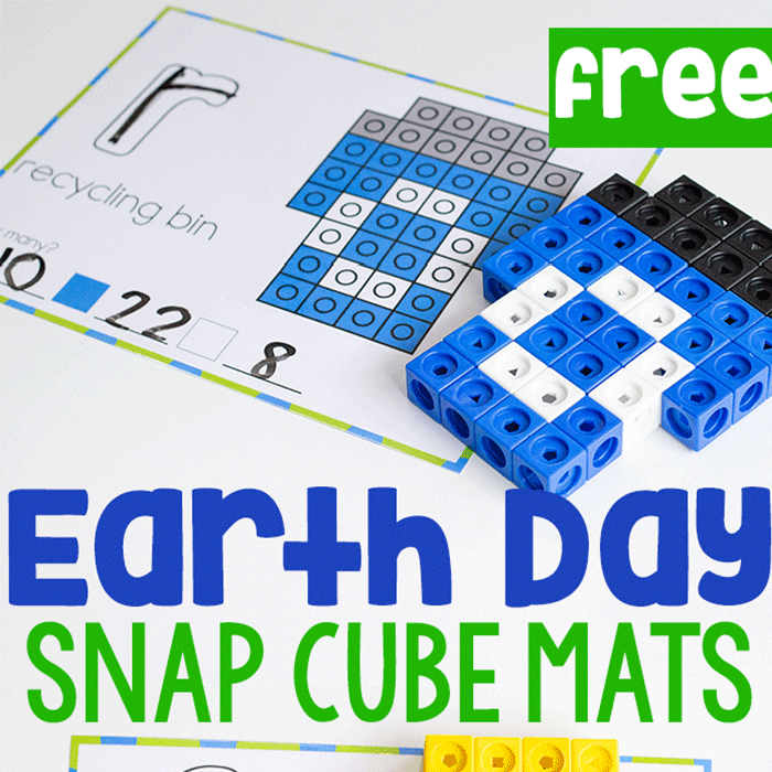 Free printable Earth Day snap cube mats for kindergarten. fine motor for April.