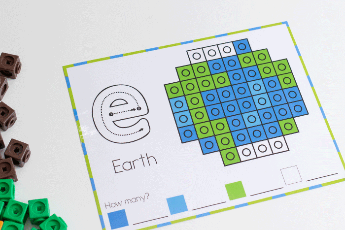 earth snap cube mats for earth day. form Earth Day pictures to build fine motor skills
