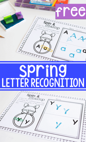 Alphabet recognition activity for spring literacy activities. Preschool letter identification spin & stamping activity.