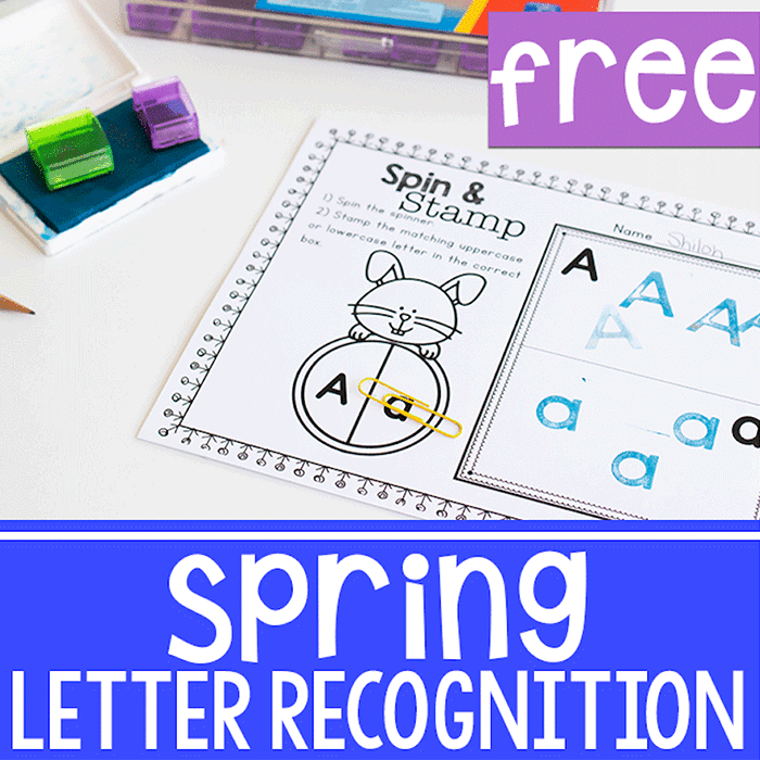 Free printable spring letter identification activity for preschool and pre-k.