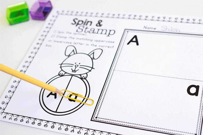 Free spinner letter identification activity for preschool literacy centers. Free printable uppercase and lowercase letter activity.