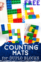 Use DUPLO blocks to count to 10 with these free printable number mats for LEGO.