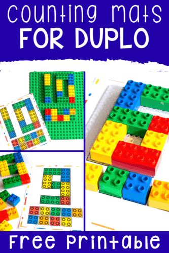 Free printable math counting mats for DUPLO blocks. Count to 10 with LEGO DUPLO bricks.
