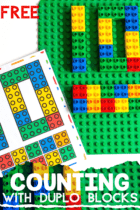 Count to 10 in your preschool math centers using LEGO DUPLO blocks.