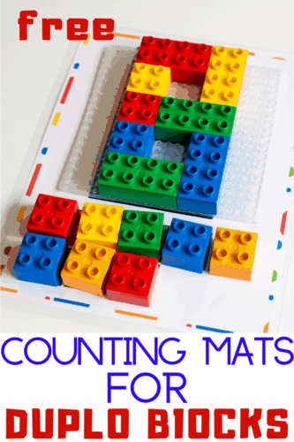 Free printable counting activity for DUPLO blocks.
