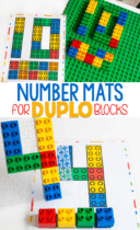 Number mats for DUPLO mats. Count to 10 in your preschool math centers.
