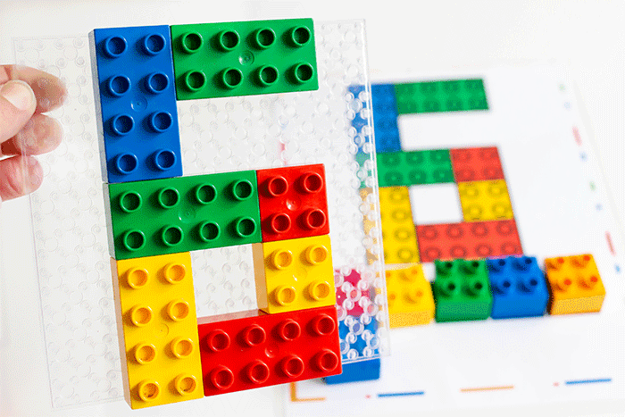 Number mats 1-10 for LEGO DUPLO blocks.