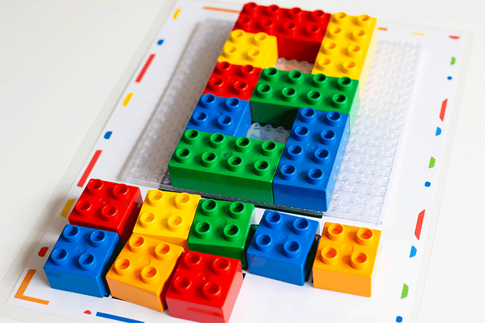 Number mats 1-10 for LEGO DUPLO blocks.