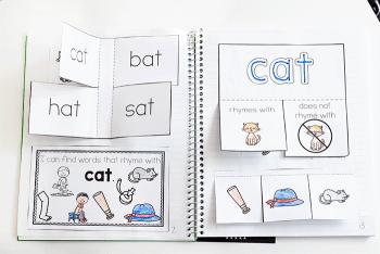 Interactive notebook activity for kindergarten cvc word rhyming activities with interactive notebooks.