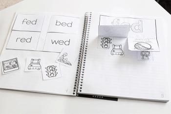 Kindergarten interactive phonics notebook. Rhyming CVC word families.