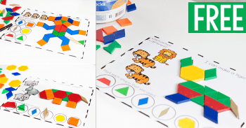 Free printable zoo animal pattern block activity for preschool.