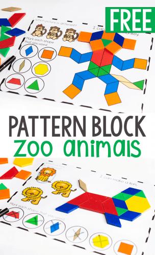 Fine motor pattern block mats for preschool zoo animal theme activity.