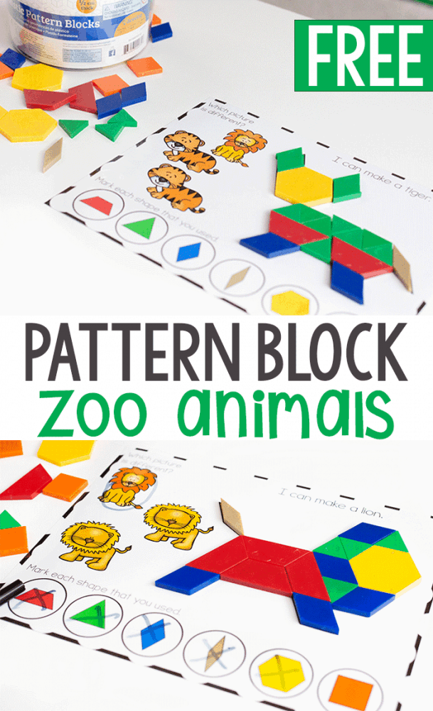 graphic about Printable Pattern Block named Printable Zoo Animal Practice Block Video game for Preschool