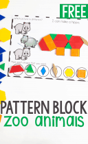 Free printable preschool activity for zoo animal theme fine motor pattern block mats zoo animals.