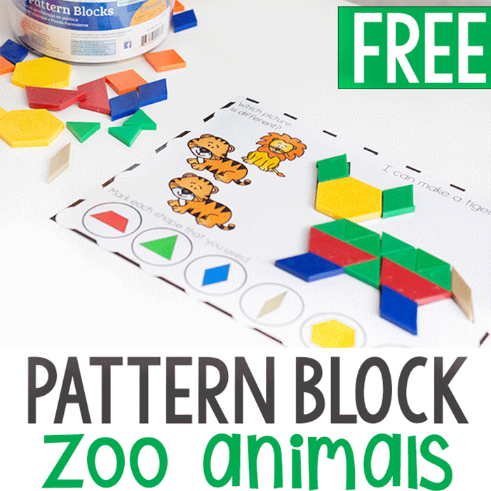 Free preschool printable for fine motor skills. Zoo animal pattern block mats for preschool