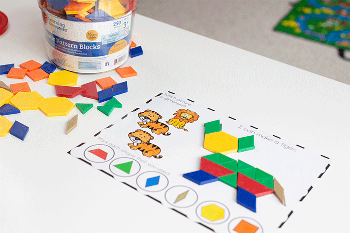 Free printable pattern block activity for preschool. Zoo animal fine motor mats