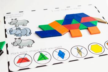 Pattern block mats for preschool zoo animal theme. Fine motor skills to place the pattern blocks on the mats.