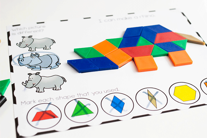 Pattern block mats for preschool zoo animal theme. Fine motor skills to place the pattern blocks on the mats.