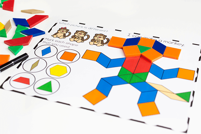 Free printable zoo animal pattern block mats for preschool and pre-k.
