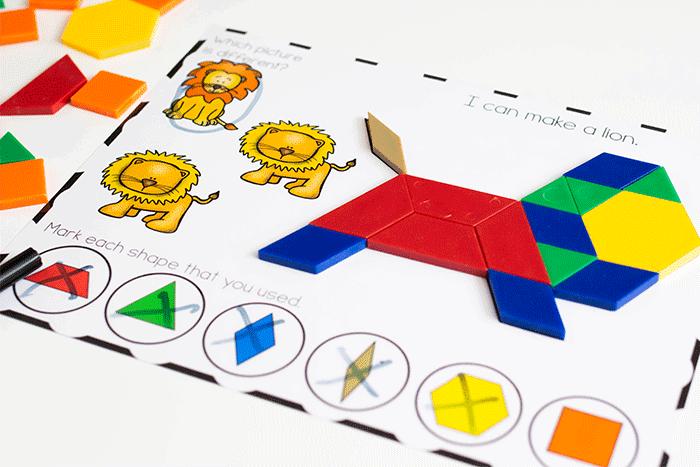 Fine motor mats for preschool zoo animal pattern block activity