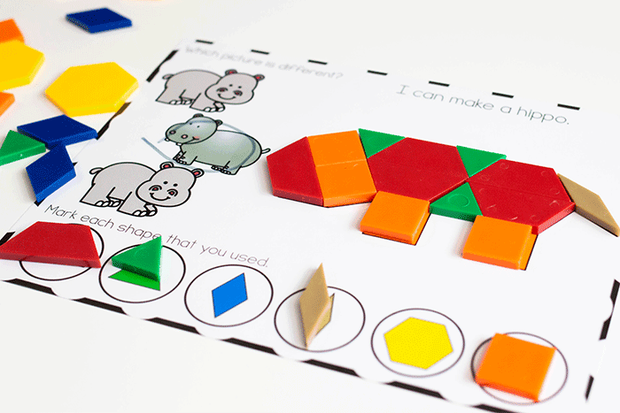 Create a rhino with pattern blocks with this free printable pattern block mat set for preschool.