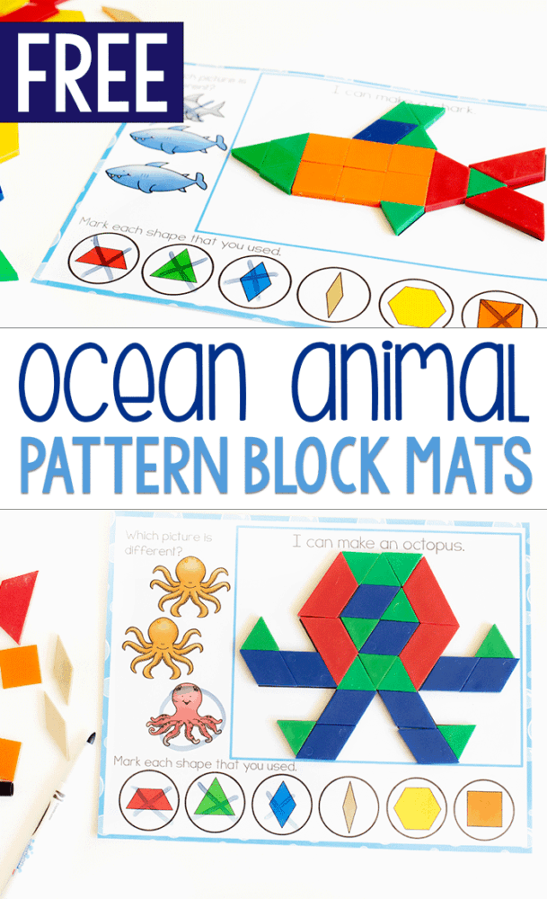 Free printable ocean animal pattern block mats with an octopus and a shark.