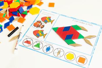 Fish printable pattern block preschool activity for preschool ocean themes and fine motor skills.