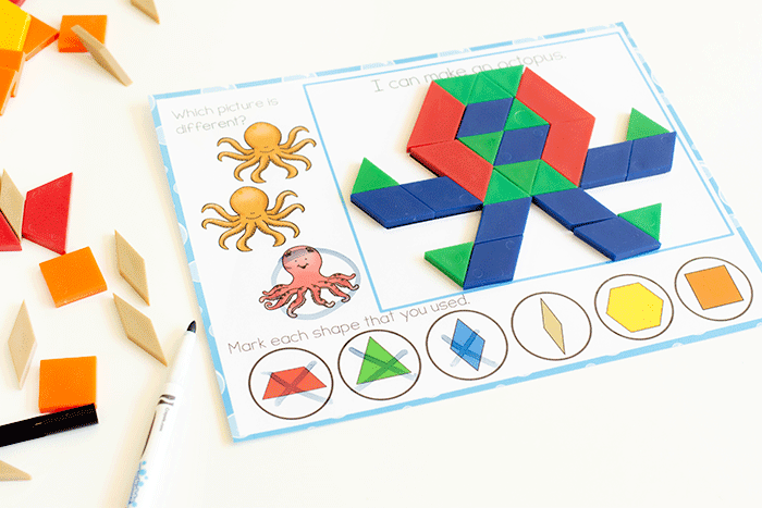 Ocean theme pattern block worksheet for preschoolers with a picture of an octopus.