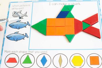 Fine motor pattern block activity for preschoolers with an ocean theme.